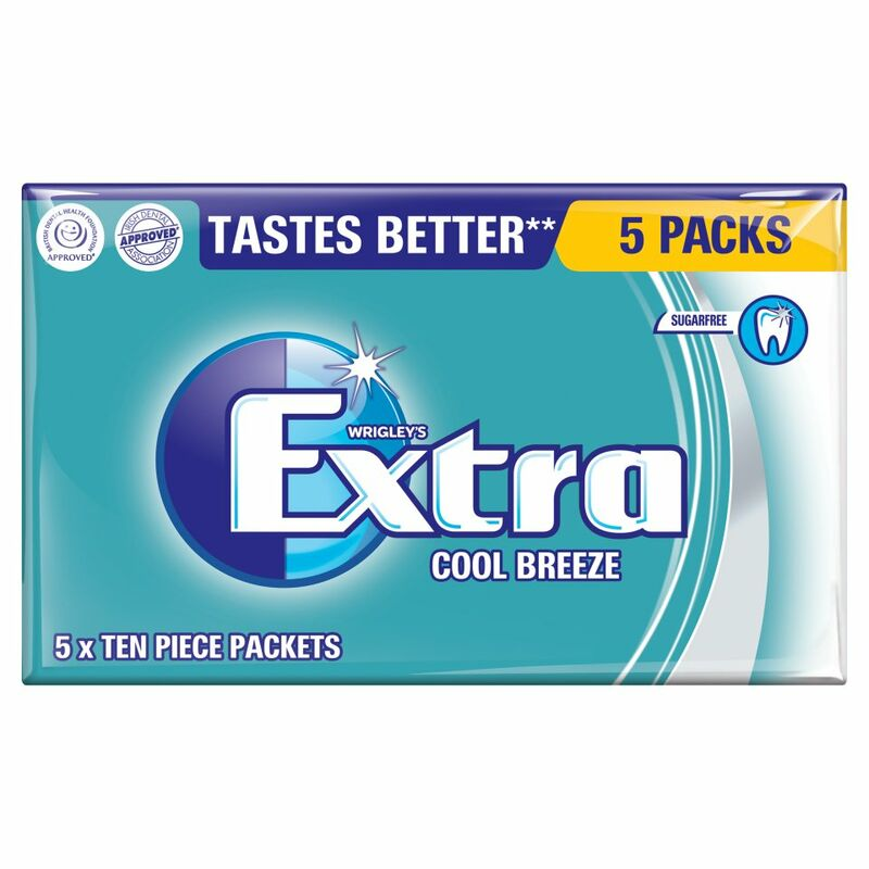 Wrigley's Extra Cool Breeze Sugarfree 5 x 10 Piece Packets (70g)