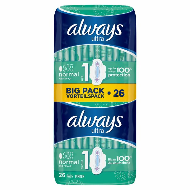 Always Ultra Normal (Size 1) Sanitary Towels Wings 26 Pads
