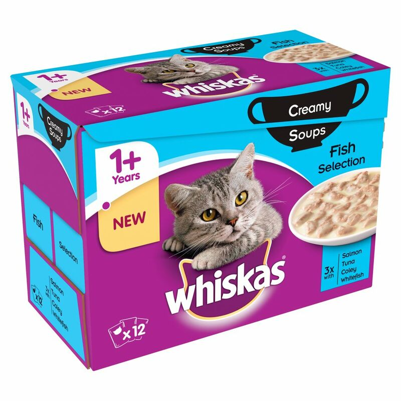 WHISKAS 1+ Cat Pouches Creamy Soups Fish Selection 12 x 85g