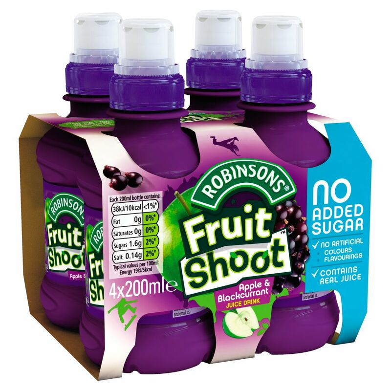 Robinsons No Added Sugar Fruit Shoot Apple & Blackcurrant Juice Drink 4 x 200ml
