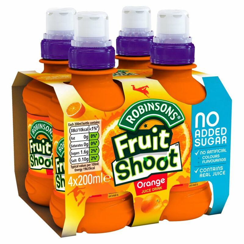 Robinsons No Added Sugar Fruit Shoot Orange Juice Drink 4 x 200ml