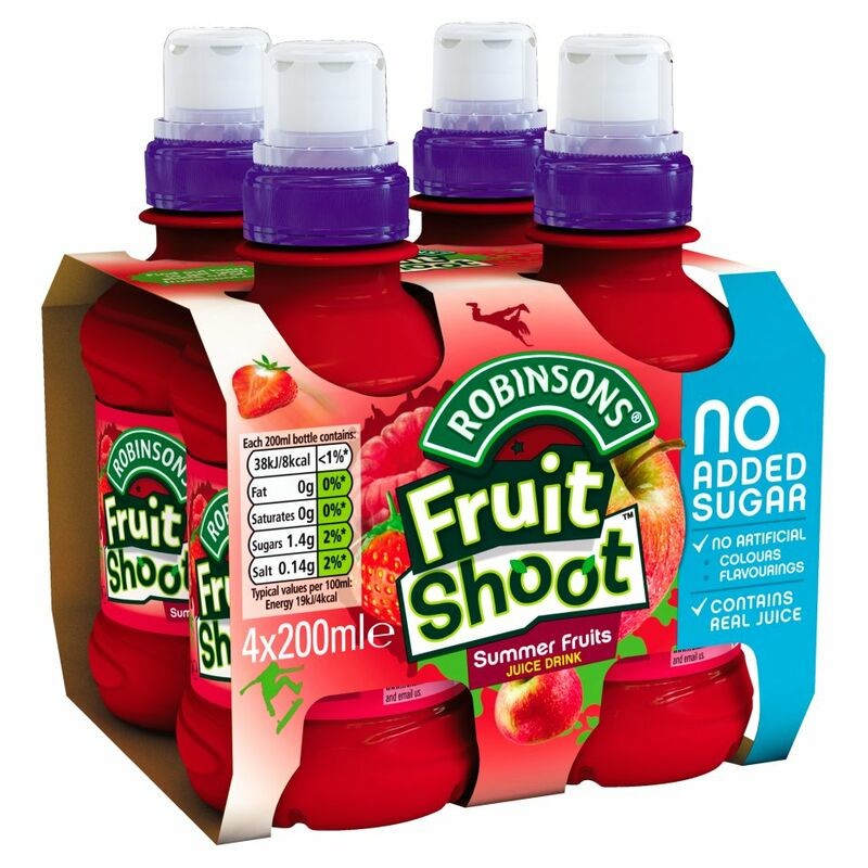 Robinsons No Added Sugar Fruit Shoot Summer Fruits Juice Drink 4 x 200ml