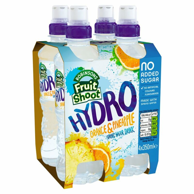 Robinsons Fruit Shoot Hydro Spring Water Drink Orange & Pineapple No Added Sugar 4 x 350ml