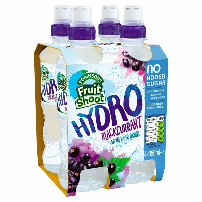 Robinsons Fruit Shoot Hydro Spring Water Drink Blackcurrant No Added Sugar 4 x 350ml
