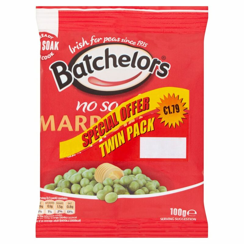 Batchelors No Soak Marrowfat Peas 2 x 100g  €1.79