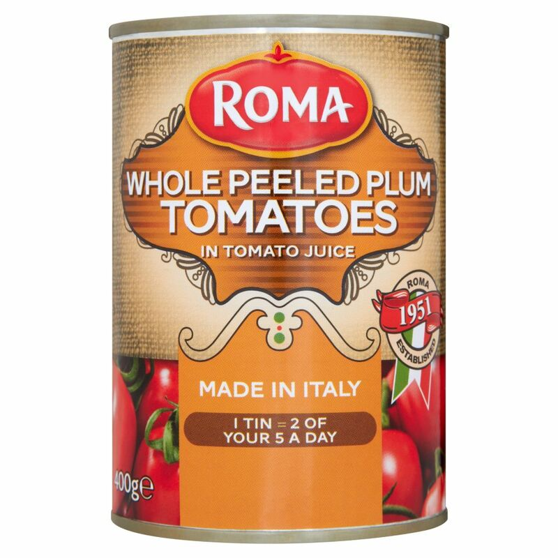 Roma Whole Peeled Plum Tomatoes in Tomato Juice 400g