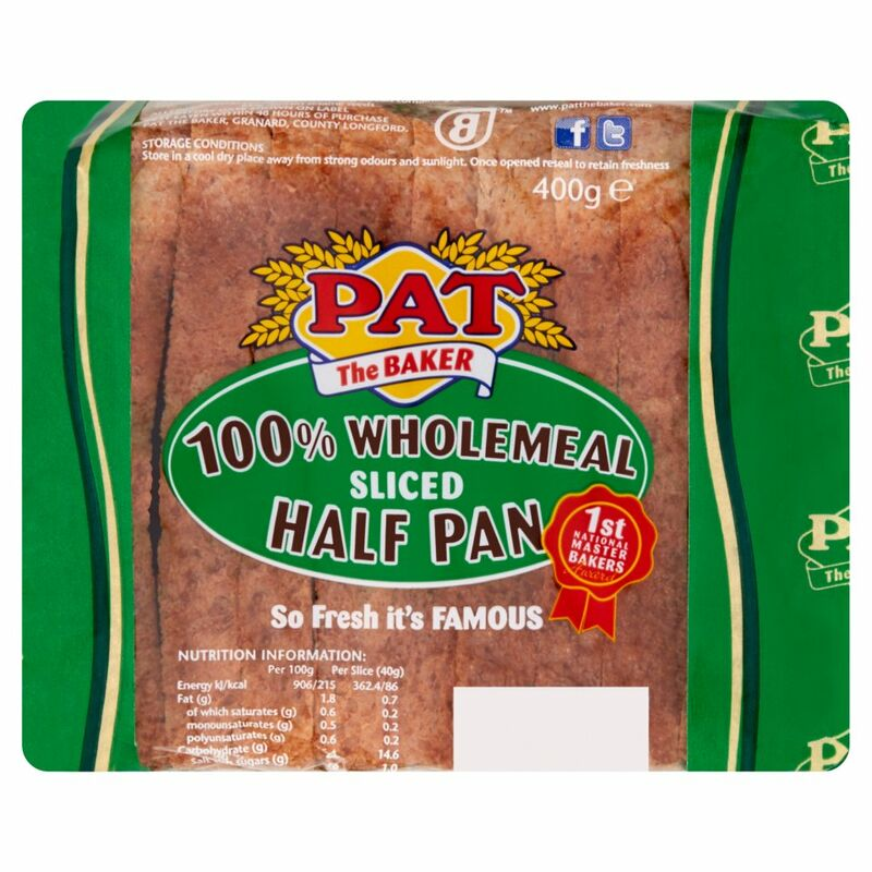 Pat the Baker 100% Wholemeal Sliced Half Pan 400g