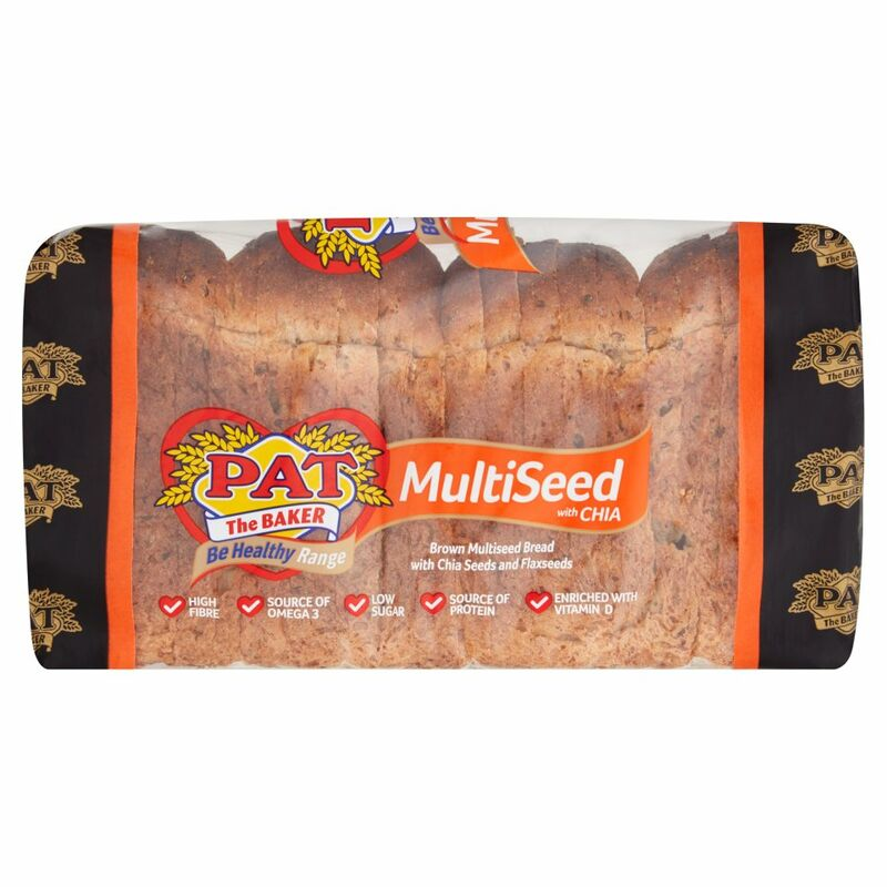 Pat the Baker Be Healthy Range Brown Multiseed Bread with Chia Seeds and Flaxseeds 700g