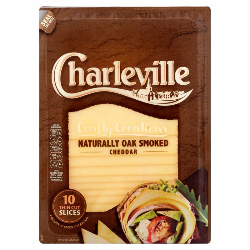 Charleville Crafty Creations Naturally Oak Smoked Cheddar 10 Thin Cut Slices 140g