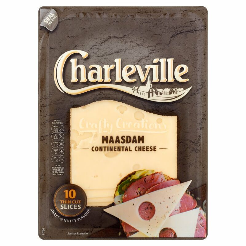Charleville Crafty Creations Maasdam Continental Cheese 10 Thin Cut Slices 140g