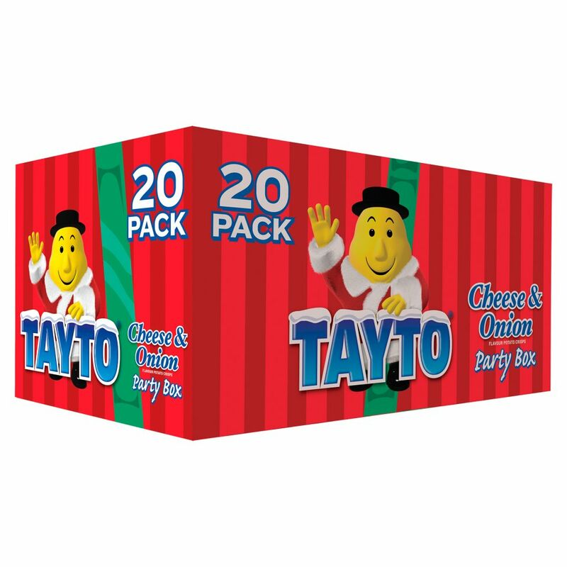 Tayto Cheese & Onion Flavour Potato Crisps Party Box 20 x 25g