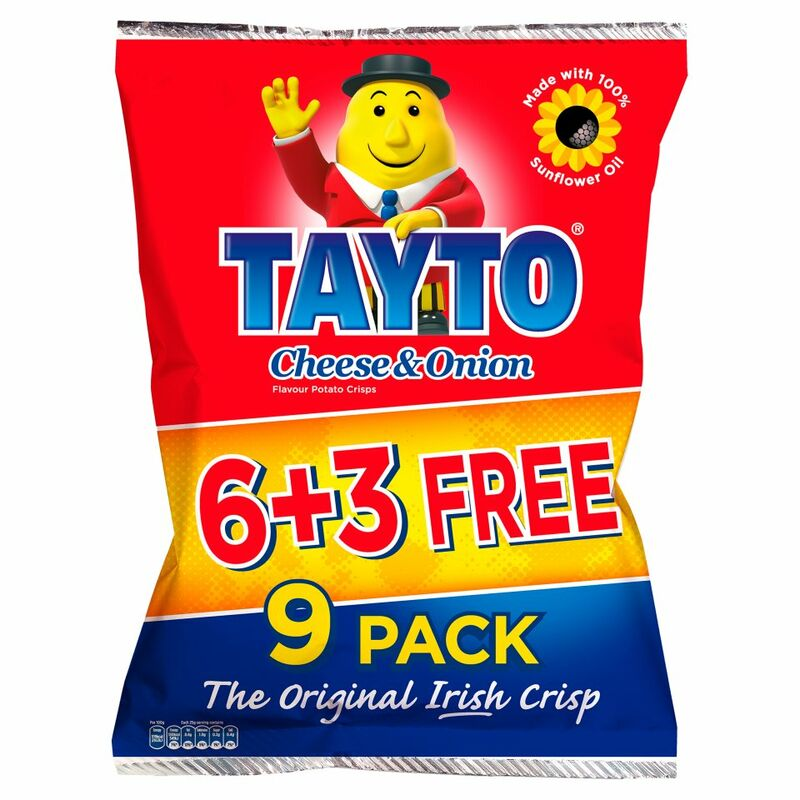 Tayto Cheese & Onion Flavour Potato Crisps 9 x 25g