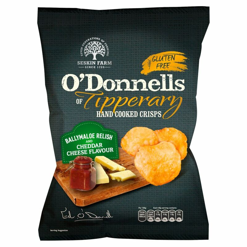 O'Donnells of Tipperary Hand Cooked Crisps Ballymaloe Relish and Cheddar Cheese Flavour 125g