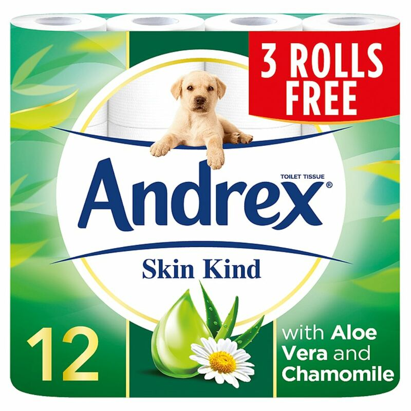 Andrex Skin Kind Toilet Roll Tissue 12 for 9 Rolls