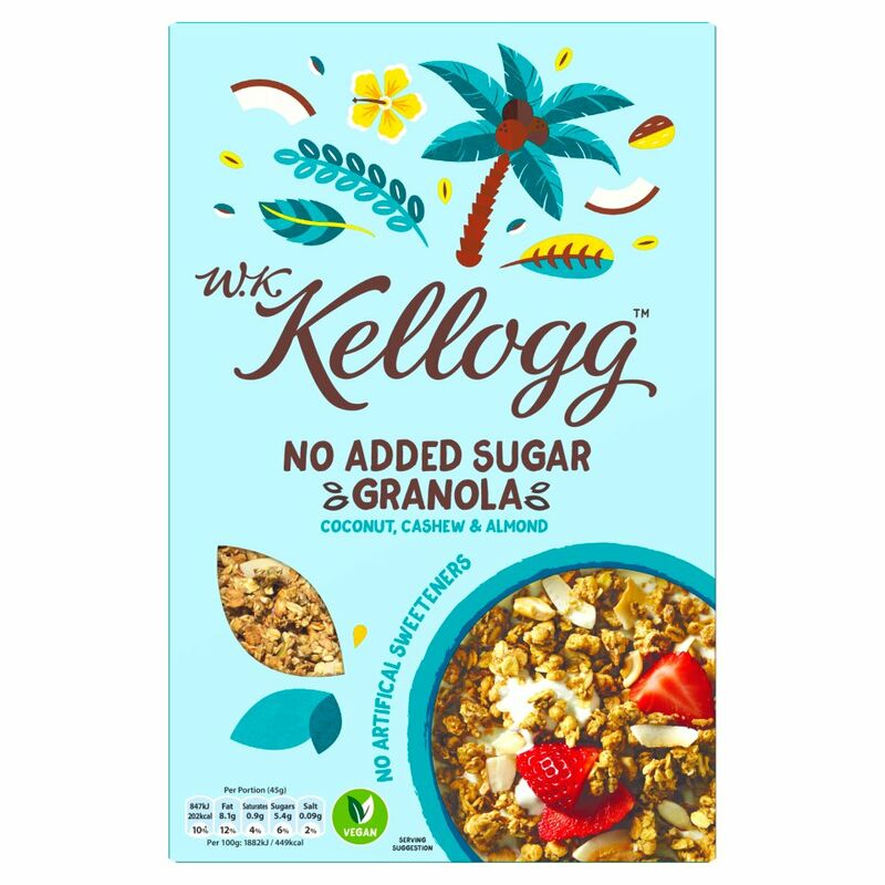 W.K. Kellogg Cereal No Added Sugar Granola Coconut, Cashew & Almond 570g