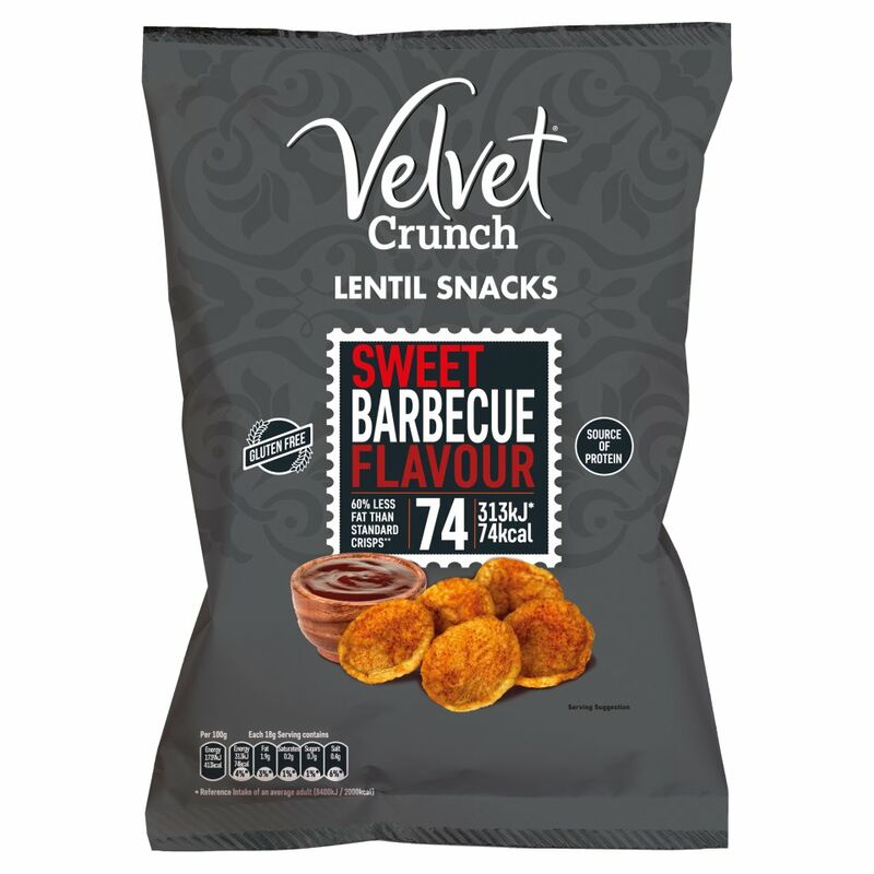 Velvet Crunch Lentil Snacks Sweet Barbecue Flavour 90g