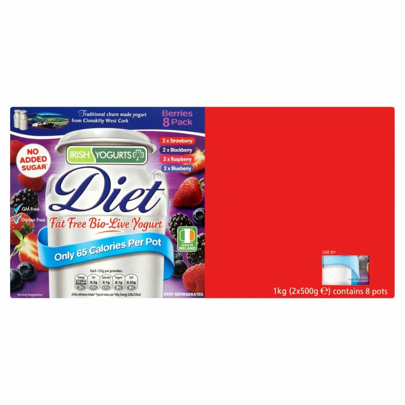 Irish Yogurts Diet Fat Free Bio-Live Yogurt Berries 8 Pack 2 x 500g (1kg)