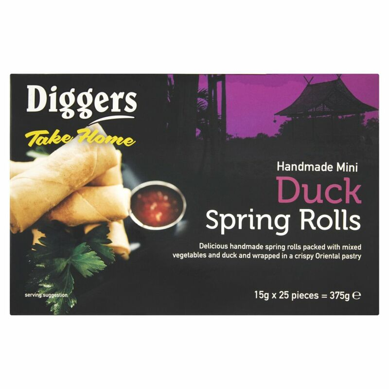 Diggers Take Home Handmade Mini Duck Spring Rolls 25 x 15g (375g)