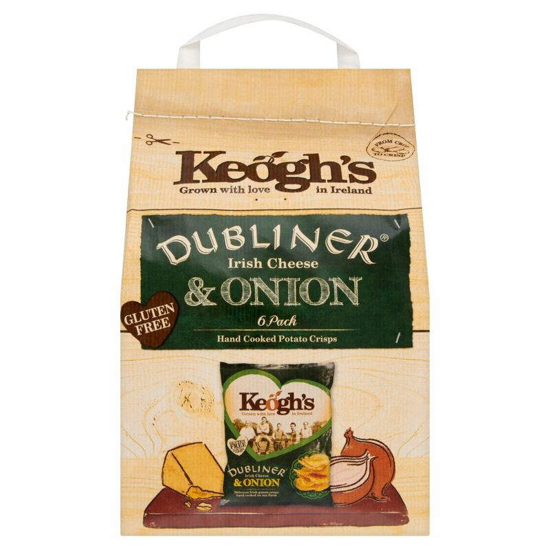Keogh's Dubliner Irish Cheese & Onion 6 Hand Cooked Potato Crisps