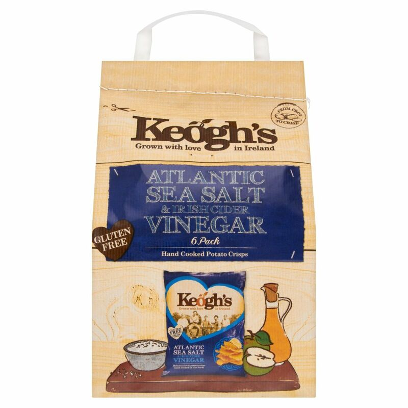 Keogh's Atlantic Sea Salt & Irish Cider Vinegar 6 Hand Cooked Potato Crisps