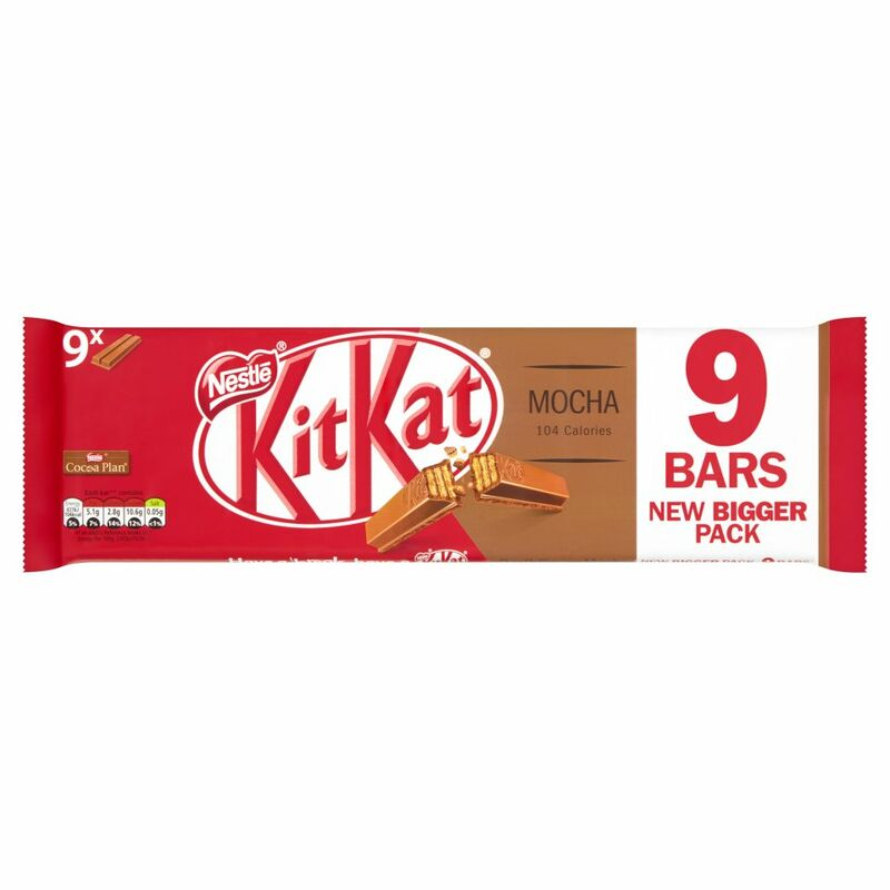 KITKAT 2 Finger Mocha Chocolate Biscuit Bar 9 Pack