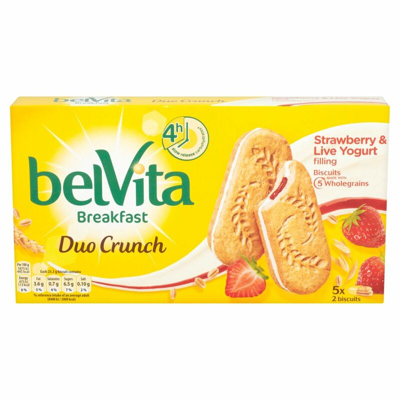 Belvita Breakfast Biscuits Duo Crunch Strawberry and Live Yogurt 5 Packs 253g