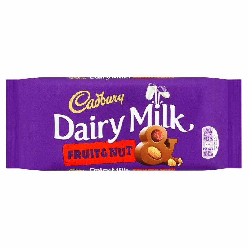 Cadbury Dairy Milk Fruit and Nut Chocolate Bar 110g