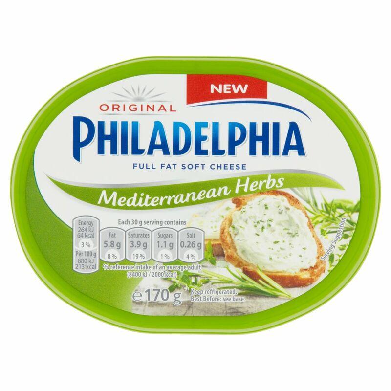philadelphia mediterranean herbs soft white cheese 170g