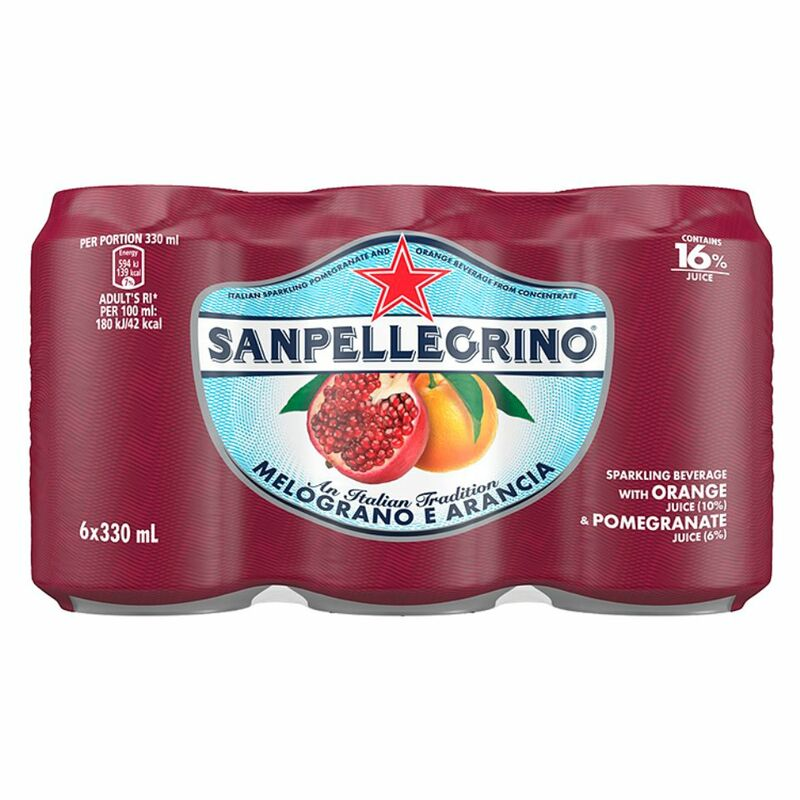 Sanpellegrino Sparkling Fruit Beverages Melograno E Arancia 6 x 330ml Can