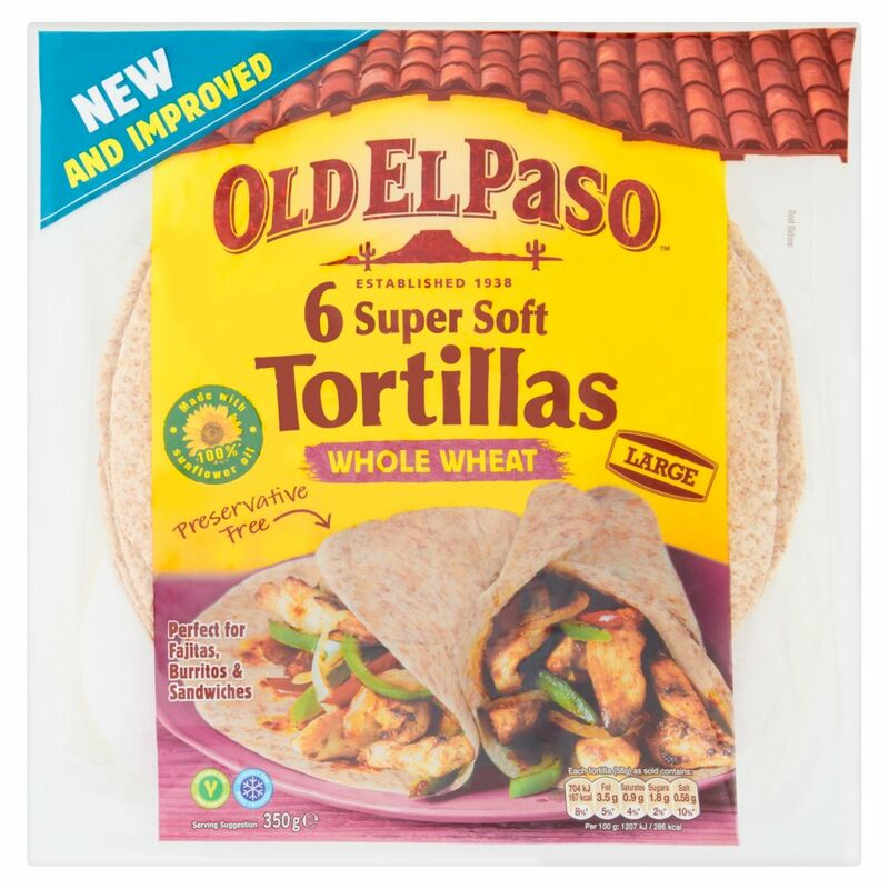 Old El Paso 6 Large Super Soft Tortillas Whole Wheat 350g