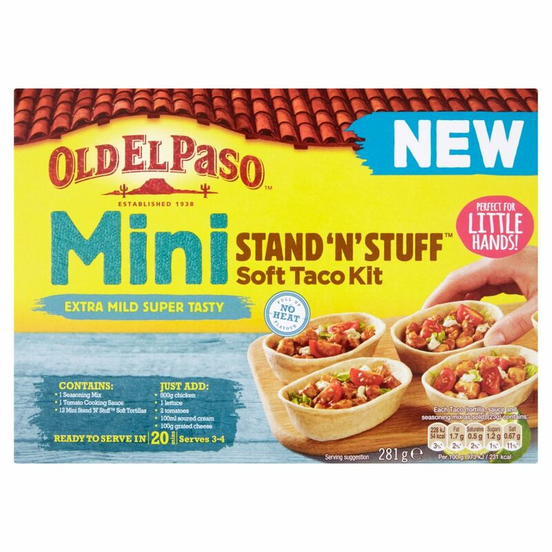 Old El Paso Mini Stand 'N' Stuff Soft Taco Kit Extra Mild Super Tasty 281g