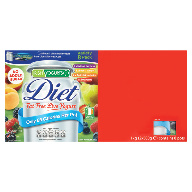 Irish Yogurts Diet Fat Free Live Yogurt 8 Pack 1 kg