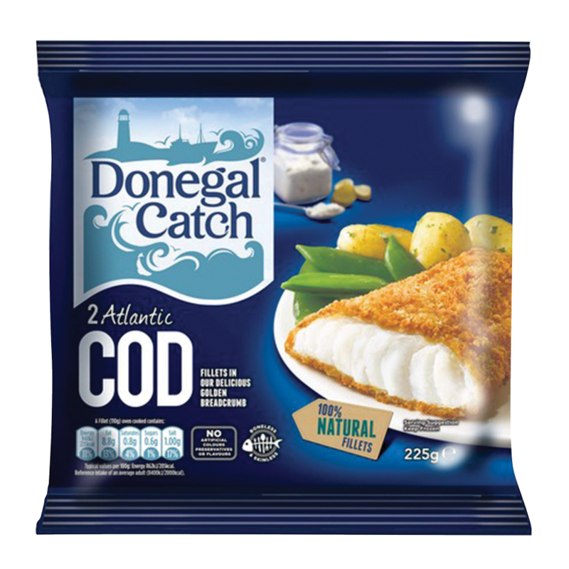 Donegal Catch 2 Atlantic Cod Fillets in Our Delicious Golden Breadcrumb 225g