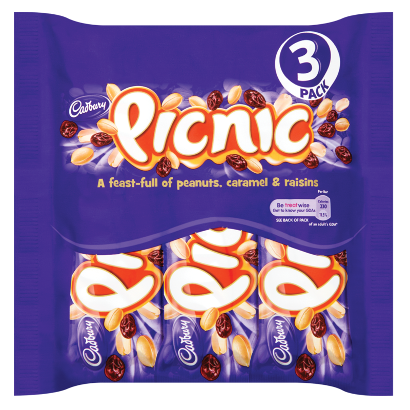 Cadbury Picnic Chocolate Bar 3 Pack 145.2g