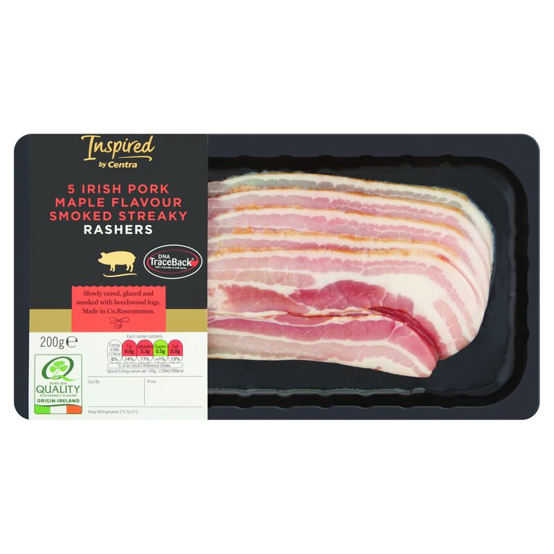 Inspired by Centra Irish Pork Maple Flavour Smoked Streaky Rashers 200g