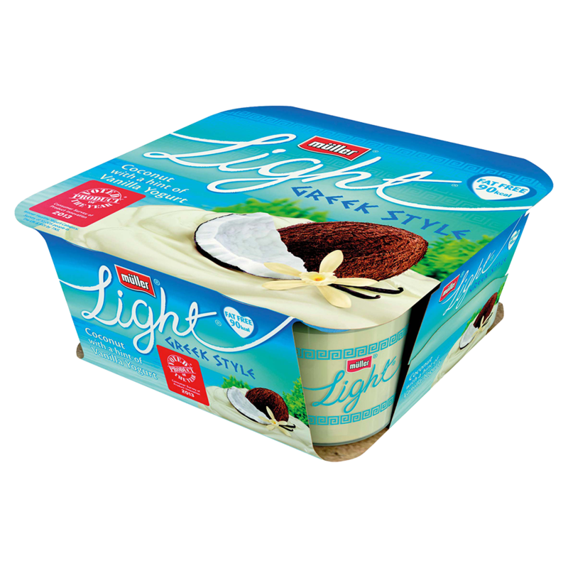 Mllerlight Greek Style Coconut Vanilla Fat Free Yogurt 4 x 120g