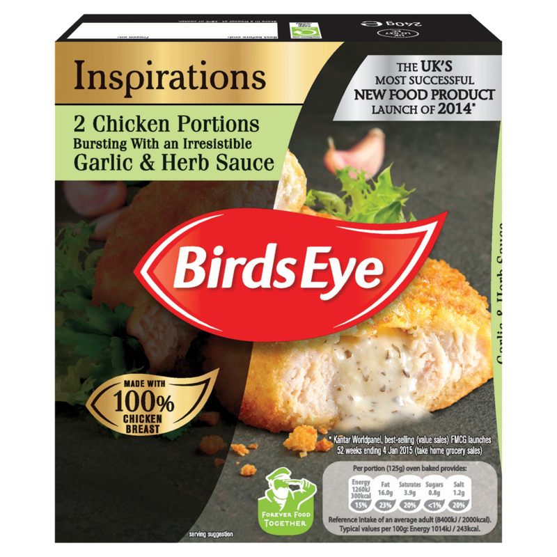 Birds Eye Inspirations 2 Chicken Portions Bursting with an Irresistible Garlic   Herb Sauce 240g