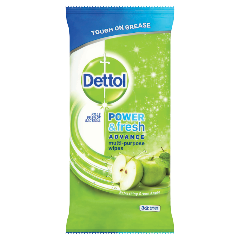 Dettol Cleaning Wipes Power   Fresh Apple 32ea