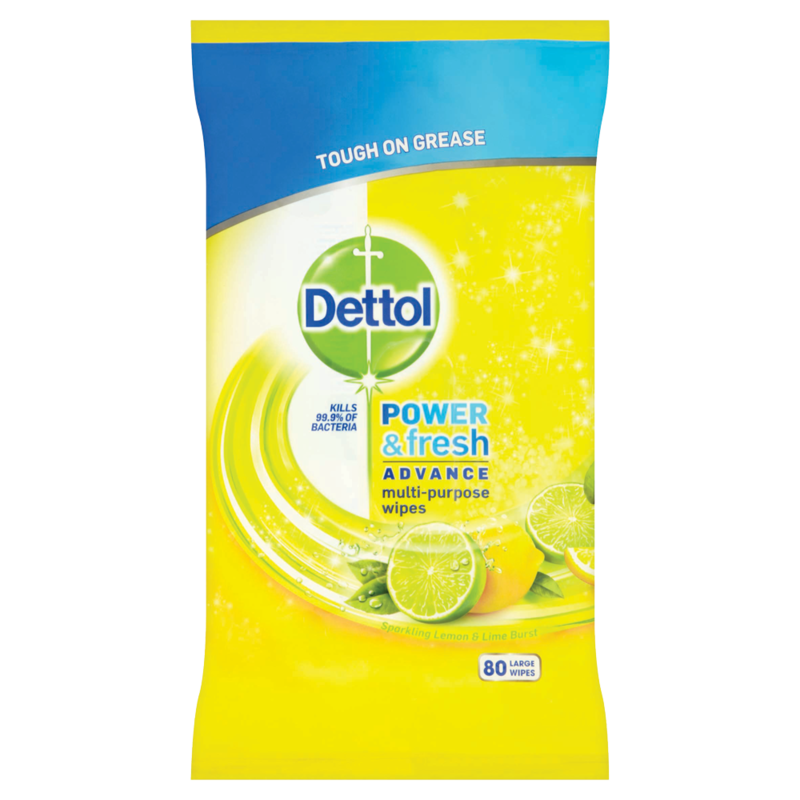 Dettol Cleaning Wipes Power   Fresh Citrus 80ea