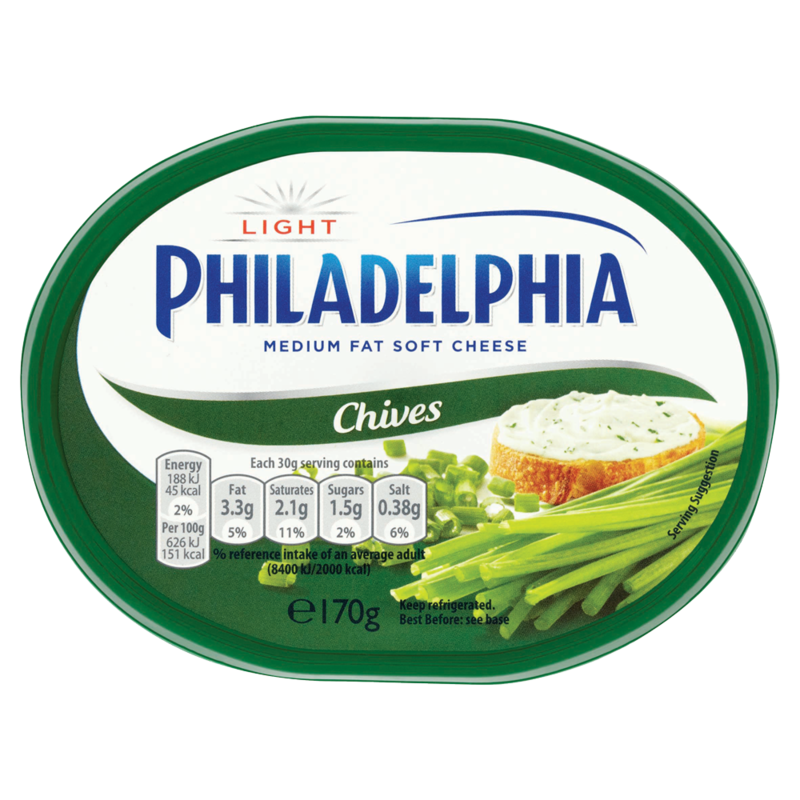 Philadelphia Light with Chives Soft White Cheese 170g
