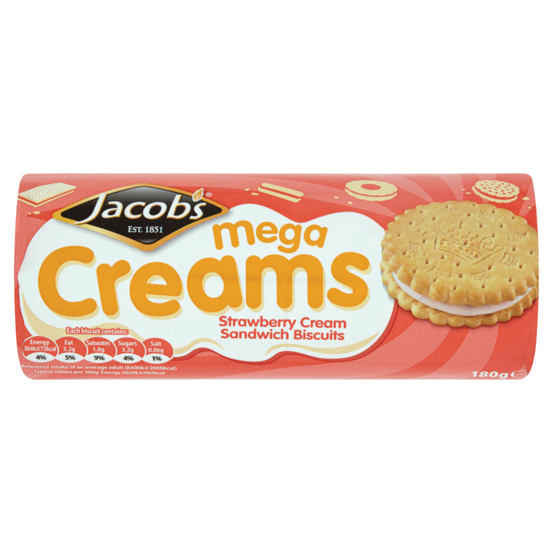 Jacob s Mega Creams Strawberry Cream Sandwich Biscuits 180g