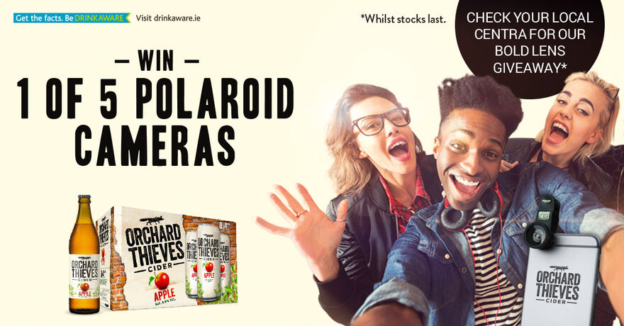 WIN 1 of 5 polaroid cameras with Orchard Thieves