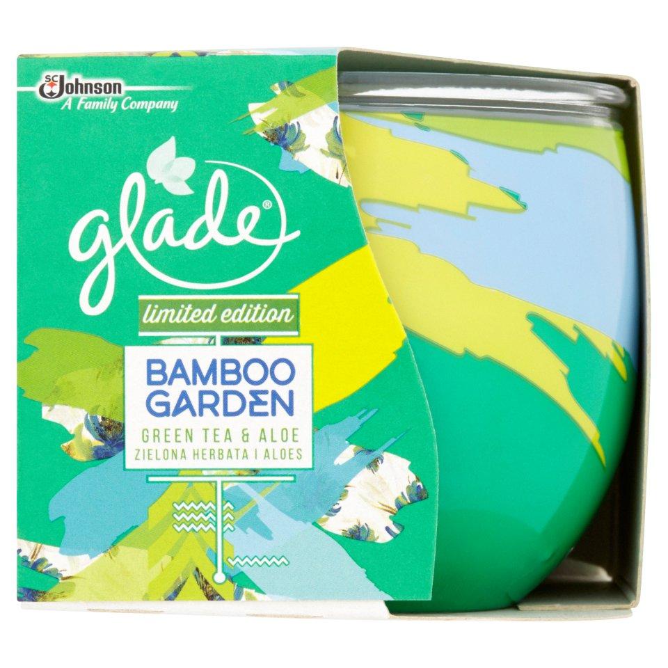 glade candle bamboo garden green tea  aloe 120g  centra